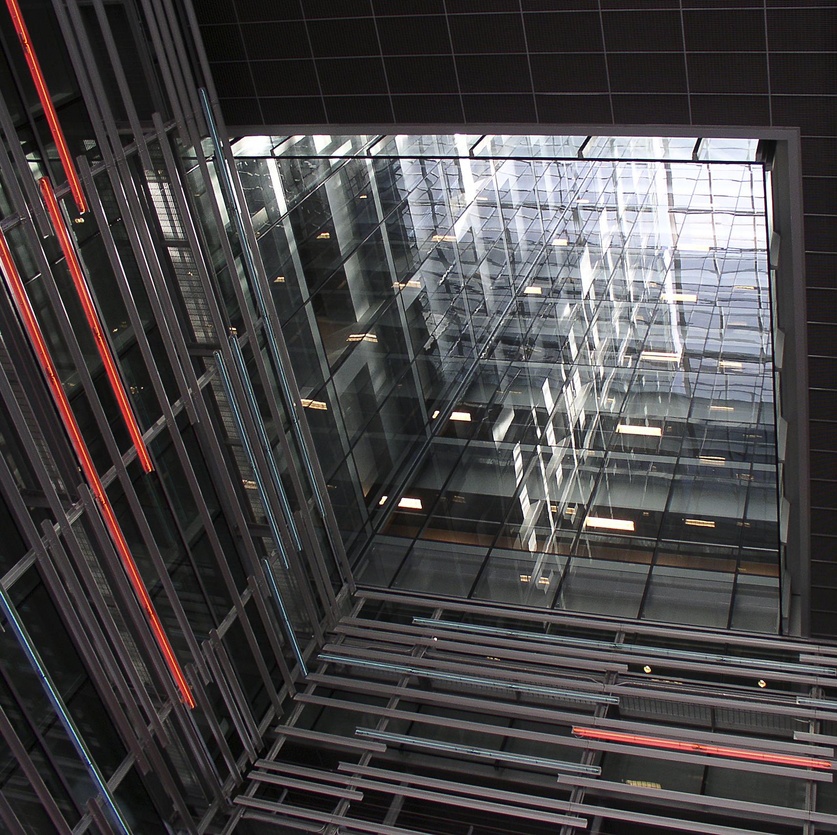 Pretentious CalTrans atrium representing the space-time continuum